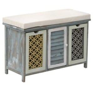 Дървена пейка шкаф с мека седалка