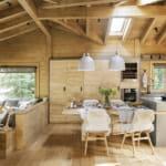 Едноетажна къща от дърво с отворен план