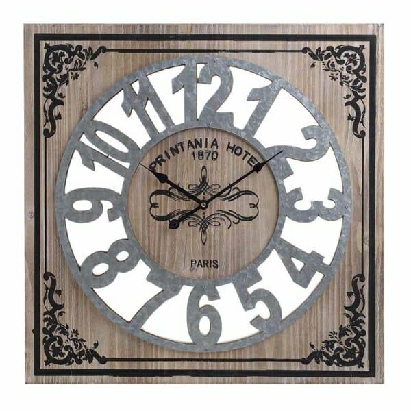 Квадратен стенен часовник от дърво и метал