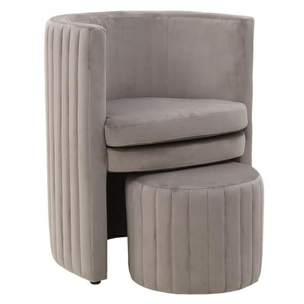 Комплект кадифено кресло с табуретка в сиво-бежово