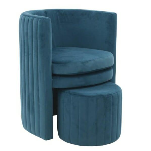 Комплект кадифено кресло с табуретка в синьо