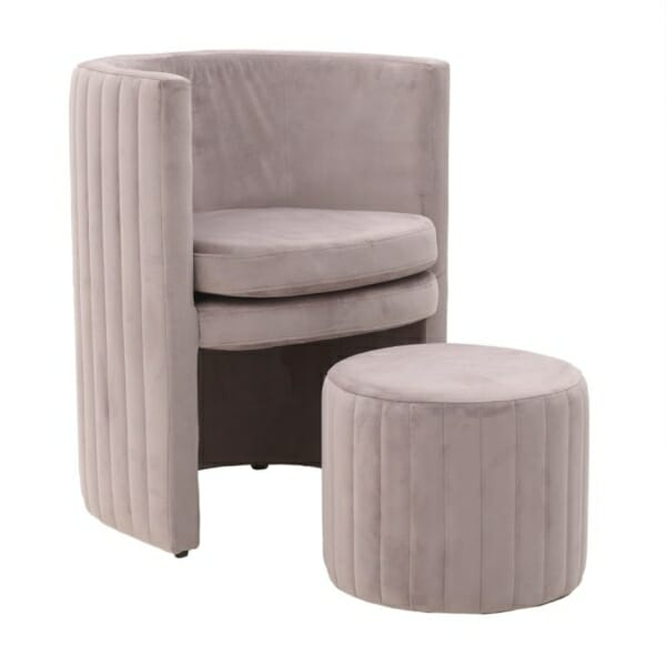Комплект кадифено кресло с табуретка в цвят сьомга