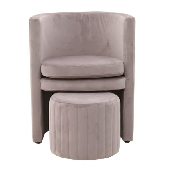 Комплект кадифено кресло с табуретка - отпред
