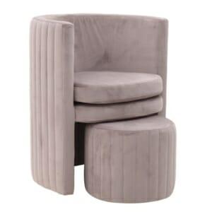 Комплект кадифено кресло с табуретка цвят сьомга