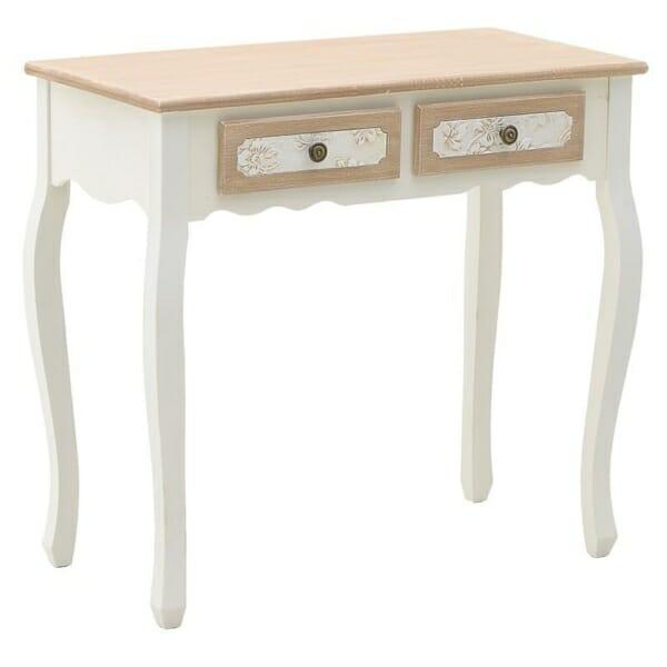 Конзолна маса в бяло с бежов плот и две чекмеджета серия Flora