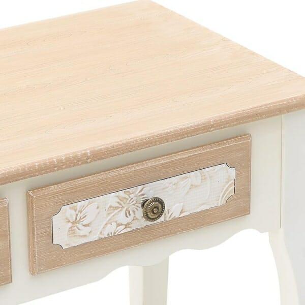 Конзолна маса в бяло с бежов плот и 2 чекмеджета Flora