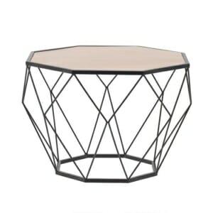 Многоъгълна маса за кафе от метал с дървен плот