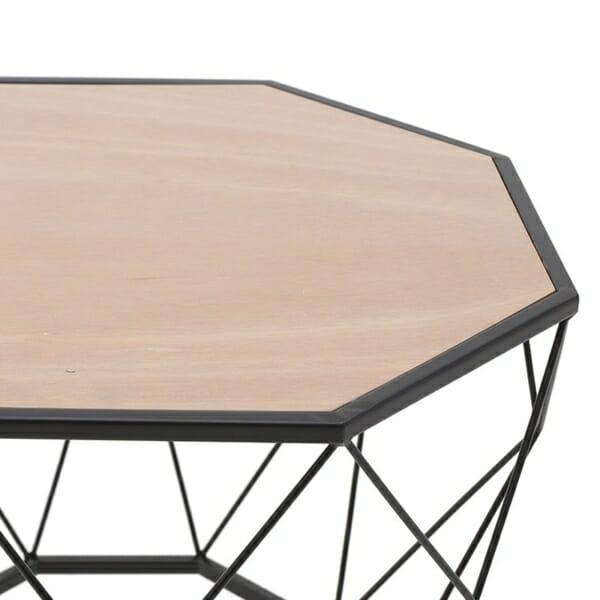 Многоъгълна маса за кафе с дървен плот