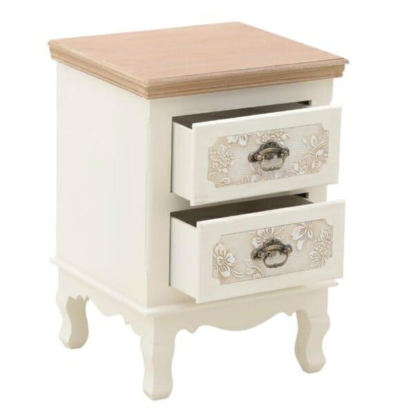 Нощно шкафче с две гравирани чекмеджета Flora