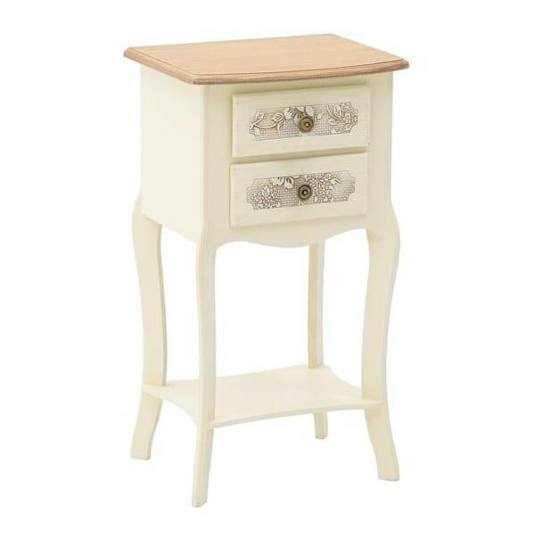 Нощно шкафче с рафт и две чекмеджета серия Flora