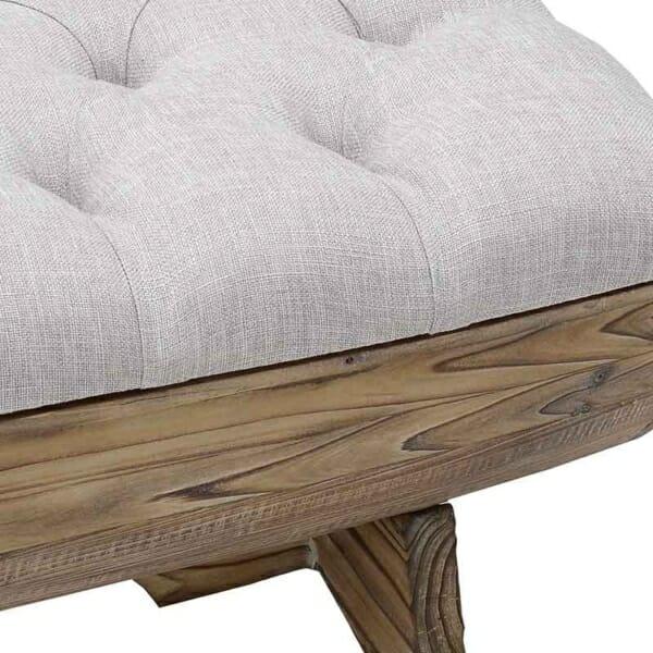 Табуретка пейка от естествено дърво с текстилна седалка