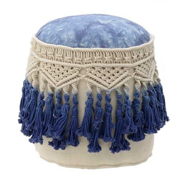 Текстилна пуф табуретка с декоративна плетка макраме