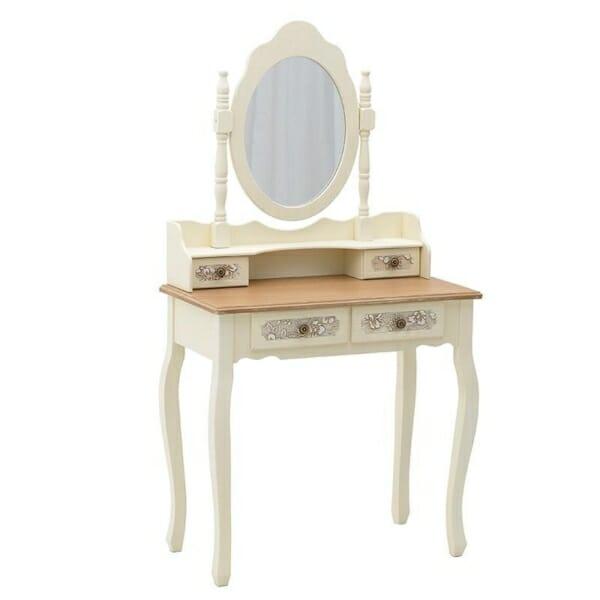 Тоалетна масичка с чекмеджета на 2 нива и овално огледало Flora