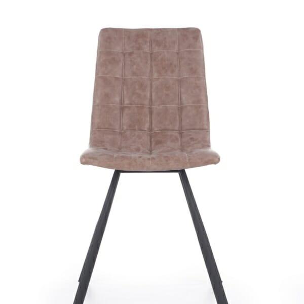 Трапезен стол в кафяво с черни метални крака