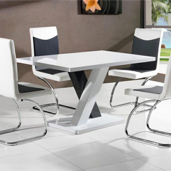 Малка трапезна маса в бяло и черно Дари