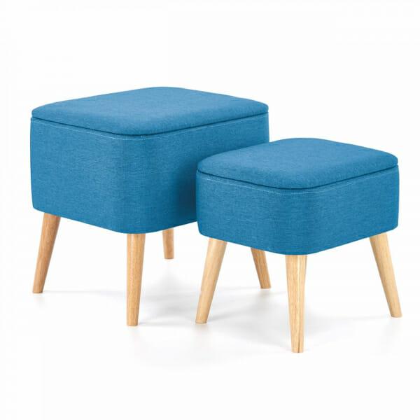 Две табуретки с място за съхранение в синьо