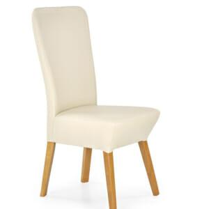 Елегантен трапезен стол от дърво и еко кожа в два цвята