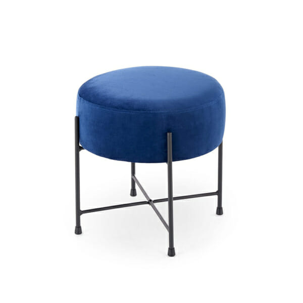 Кръгла текстилна табуретка с метални крака - синя