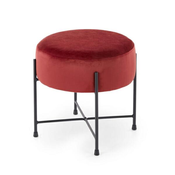 Кръгла текстилна табуретка с метални крака - червена