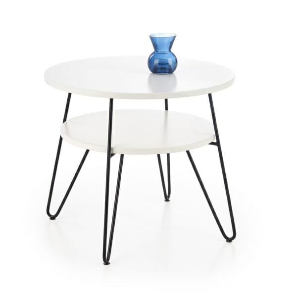 Кръгла холна маса в бяло с черни крака