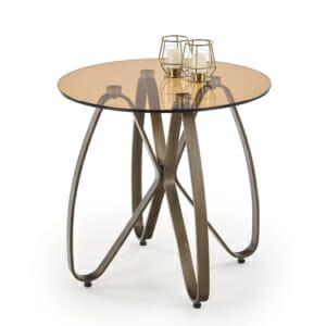 Кръгла холна маса със стъклен плот и метални крака
