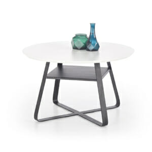 Кръгла холна маса с два плота в бяло и черно