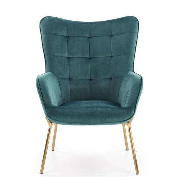 Модерно плюшено кресло с метални крака в зелено