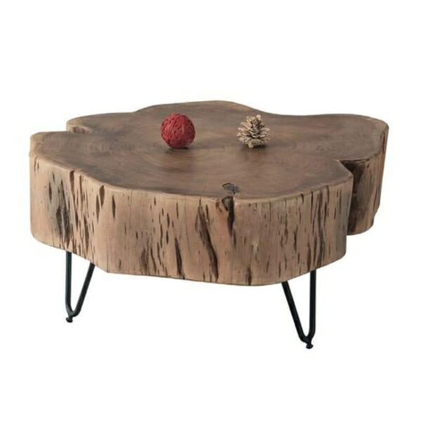 Ниска холна маса с плот от естествено дърво