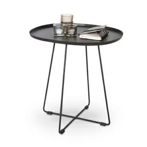 Овална помощна маса от стомана в черно или бяло