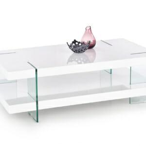 Правоъгълна холна маса с асиметрично вградени стъклени крака