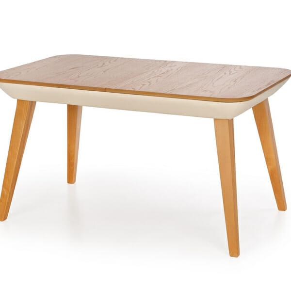 Разтегателна трапезна маса от дърво и еко кожа