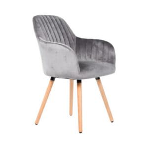 Сив трапезен стол с плюшена дамаска и дървени крака