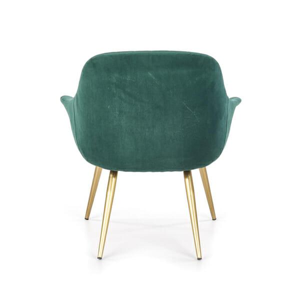 Текстилно кресло в зелено със златисти крака - отзад