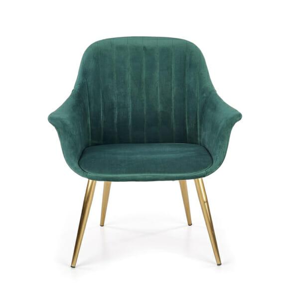 Текстилно кресло в зелено със златисти крака - отпред