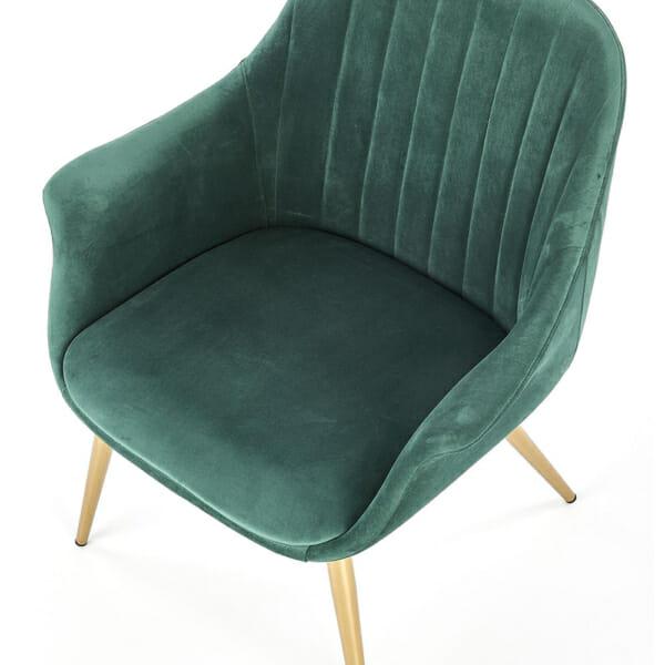 Текстилно кресло в зелено със златисти крака - седалка