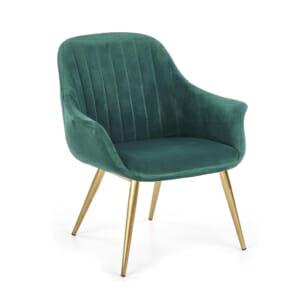 Текстилно кресло в зелено със златисти крака