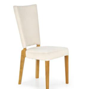 Трапезен стол от дърво и текстил в два цвята