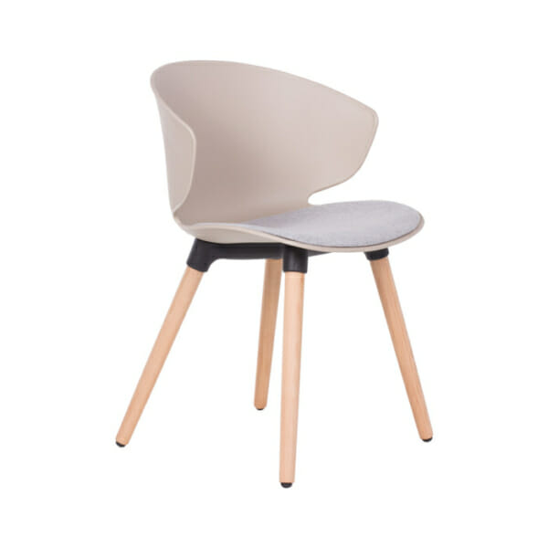 Трапезен стол от пластмаса, дърво и дамаска в бяло или бежово