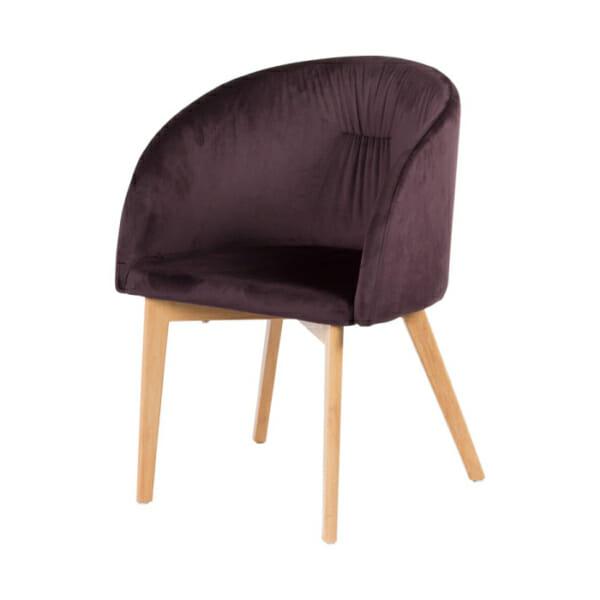 Трапезен стол с плюшена дамаска в три цвята