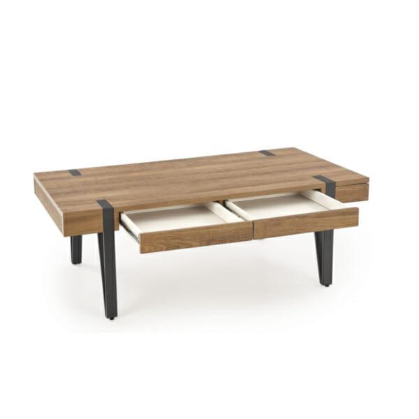 Елегантна холна маса от дърво с чекмеджета-отворени