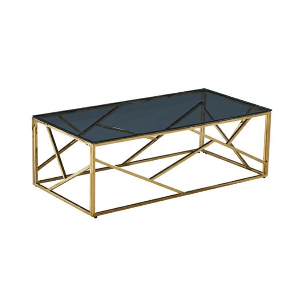 Златиста холна маса с опушен стъклен плот