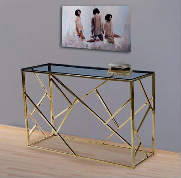 Конзолна маса със златна основа и стъклен плот