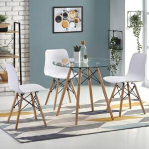 К-т малка кръгла маса с 4 бели стола