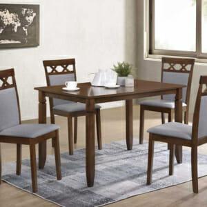 К-т маса за хранене с 4 стола в орех и сиво