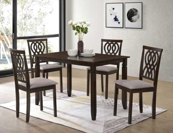 К-т правоъгълна маса с 4 стола във венге и бежово