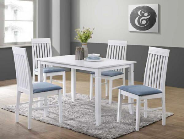 К-т трапезна маса и 4 стола в бяло и синьо