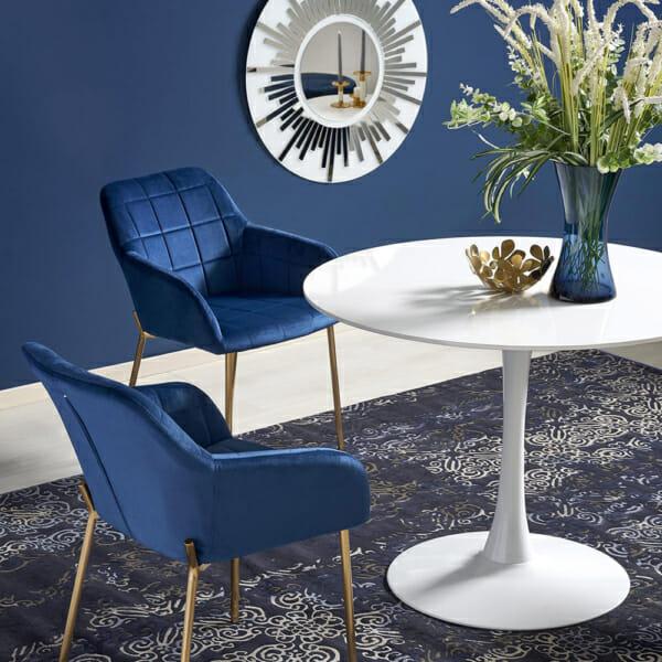 Малка кръгла маса за хранене бял гланц и столове