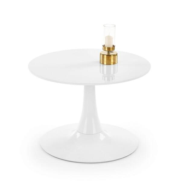 Малка кръгла маса за хранене бял гланц-отпред