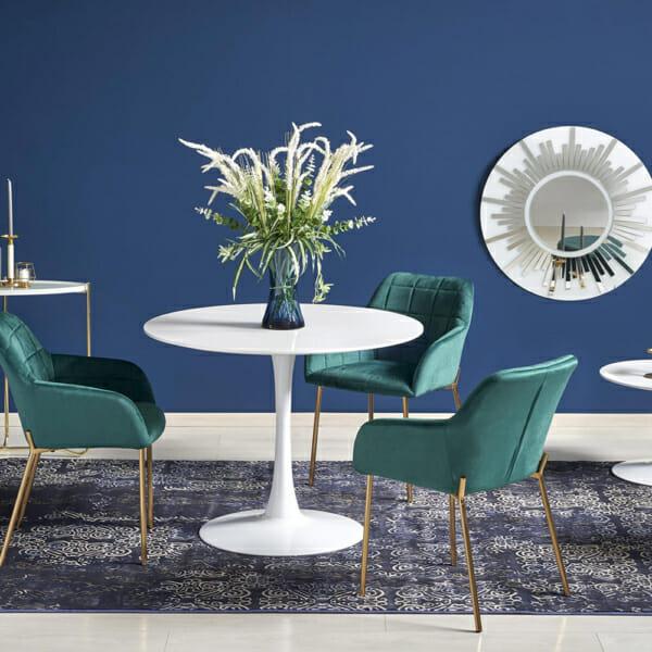 Малка кръгла маса за хранене бял гланц-със столове