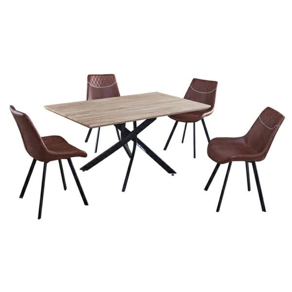 Маса в индустриален стил с черна метална основа и кафяв стол
